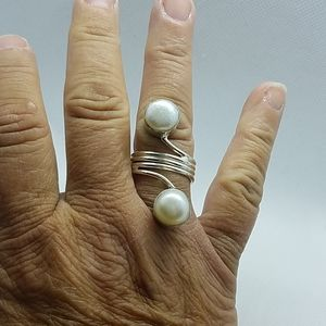 River Pearl ring sterling overlay